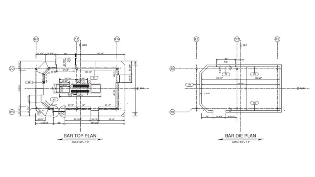 Architectural drawing of bar top plan