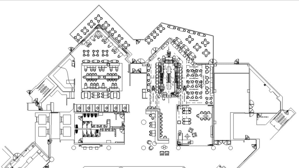 Architectural plan of a large hotel