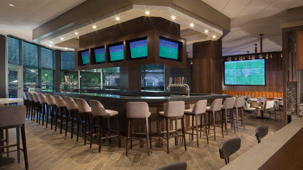 Photo of a hotel bar with a kegerator draft beer system