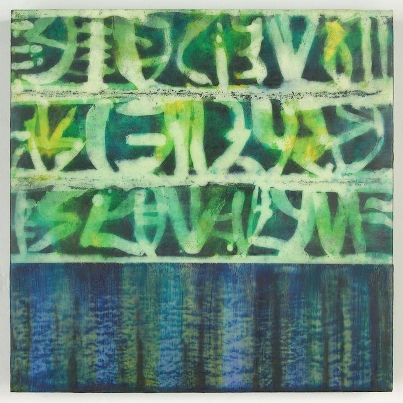 <i>Ledger Lines: Green </i>  encaustic on panel  18 x 18 x 2.5
