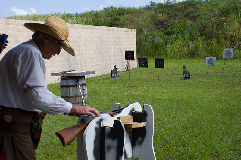 Shooting match with cowboy lever rifles