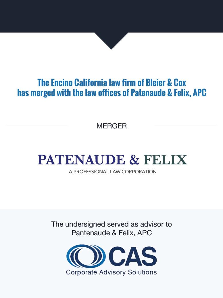 Patenaude & Felix   Select Transaction   Corporate Advisory Solutions