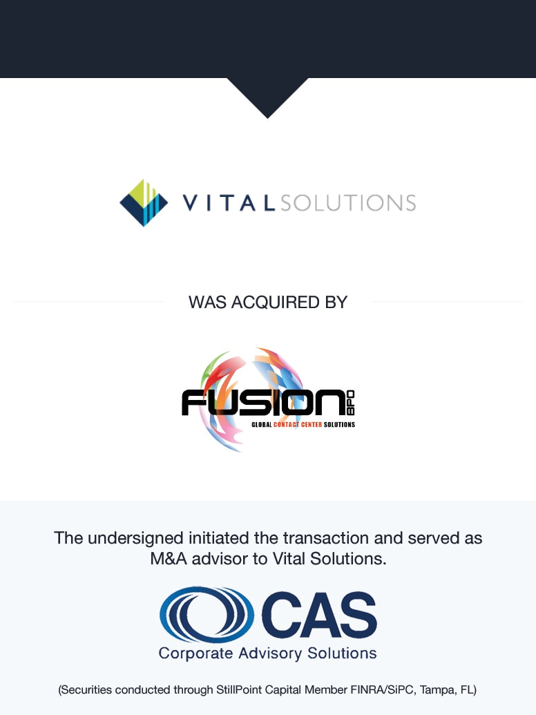 Vital Solutions   Select Transaction   Corporate Advisory Solutions