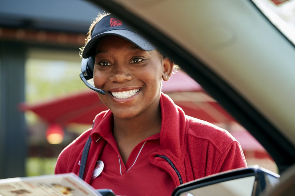 Chick-fil-A Team Member takes an order from a guest