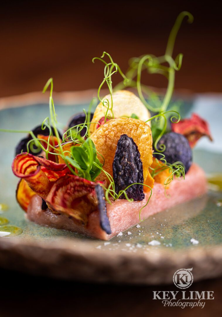 Artistic food photography image of seafood and crisps. Las Vegas sushi restaurant.