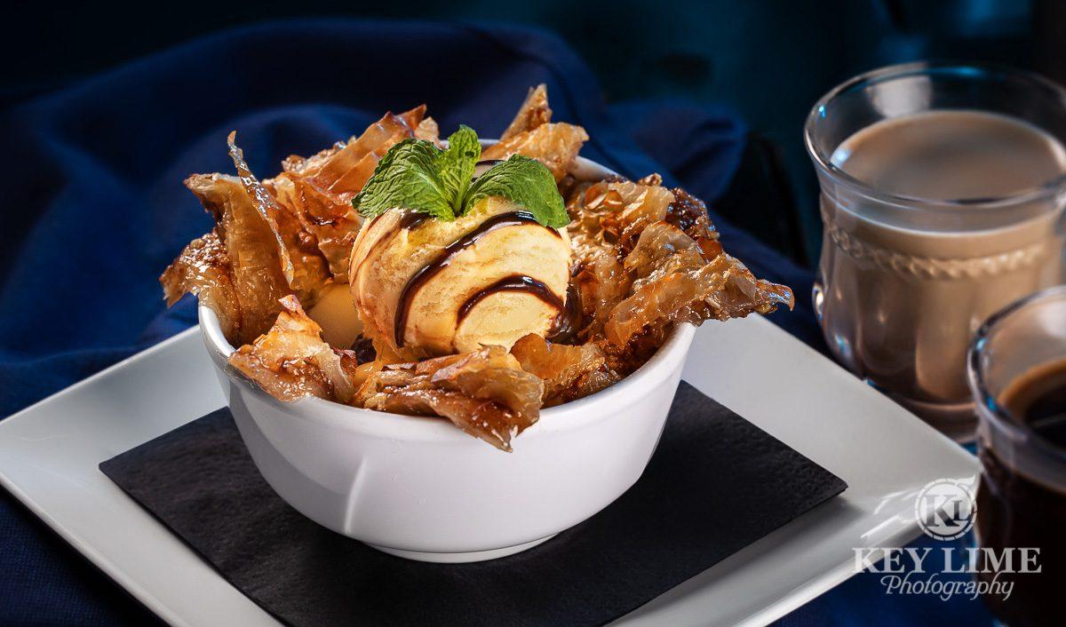 Food photographer in Las Vegas image of Baklava Ice Cream. Las Vegas Mediterranean Restaurant and hookah lounge. Beautiful dessert.
