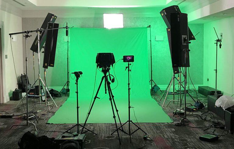 Video production. Green screen set in Las Vegas.