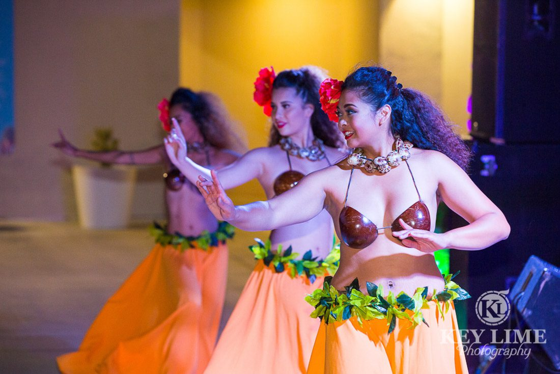 Polynesian dancers at the rooftop party at Plaza Hotel. Photos by Key Lime Photography