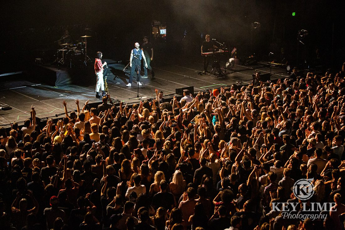 Packed audience viewing a performance by K.Flay during a concert hosted by X107.5 in Las Vegas