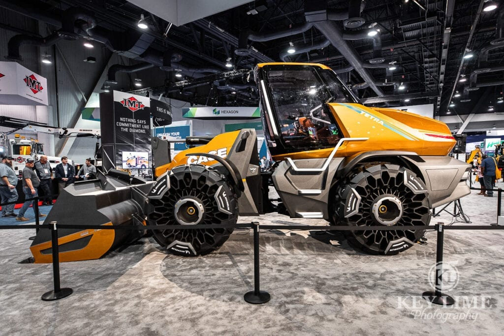 tradeshow photography, Case Construction at ConExpo, unveiling of project Tetra, sleek equipment concept that looks like a sports car