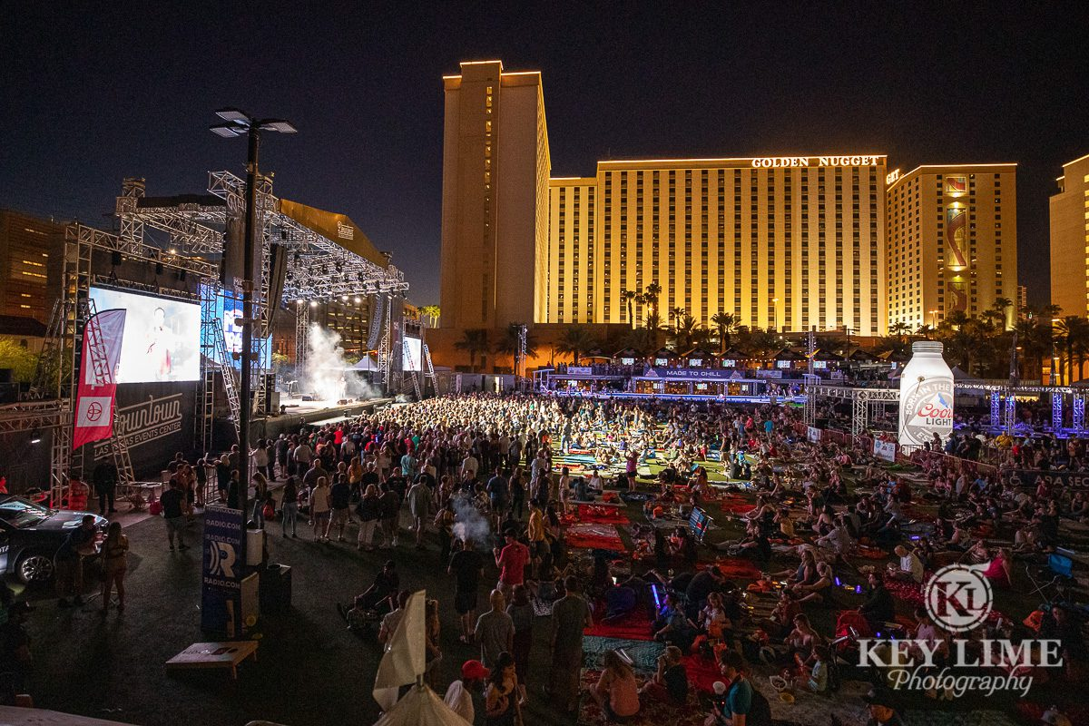 Downtown eveing image of crowed concert event photography of Bite of Las Vegas 2019
