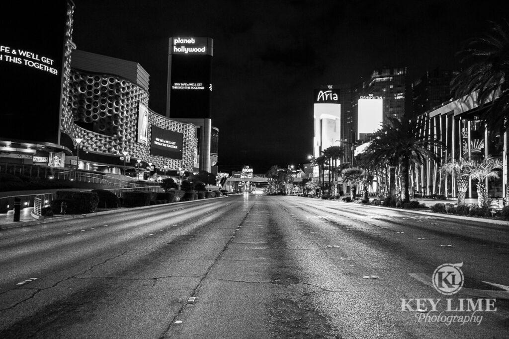 No traffic on Las Vegas Boulevard, black and white photo