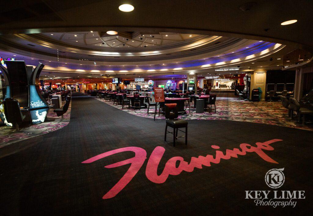 abandoned casino floor at Flamingo Hotel. Coronavirus fears