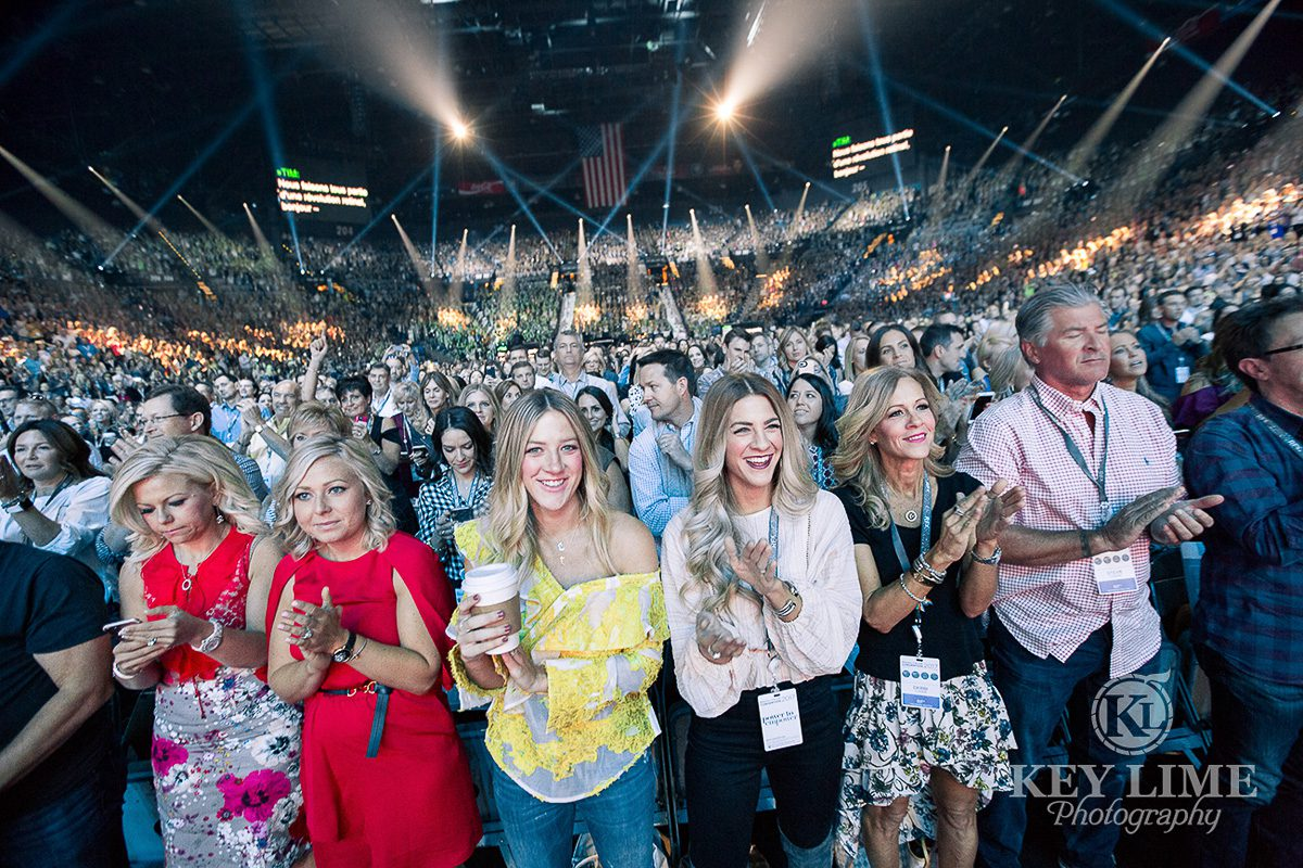 MGM Grand Garden Arena. Event photographer image of full house with pretty, smiling girls in the front row.