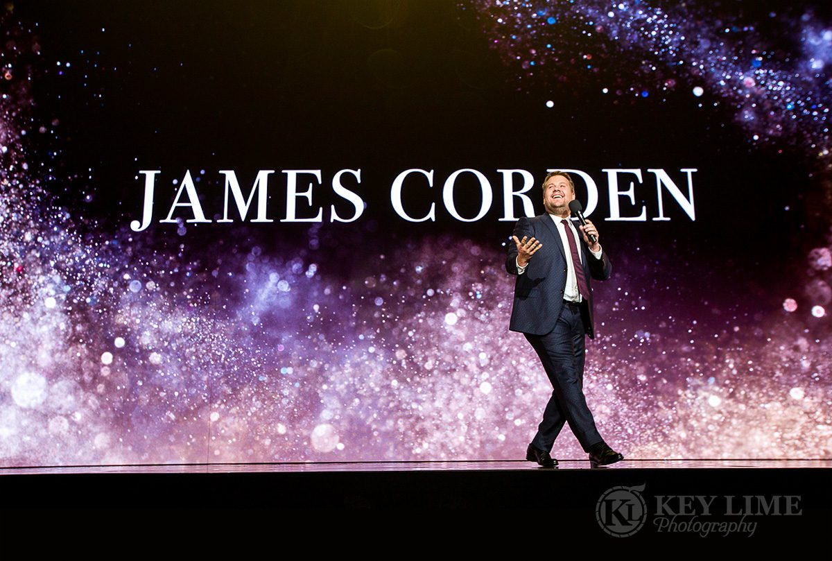 Iconic image of James Corden as a public speaker. Event photographer image by Key Lime Photography