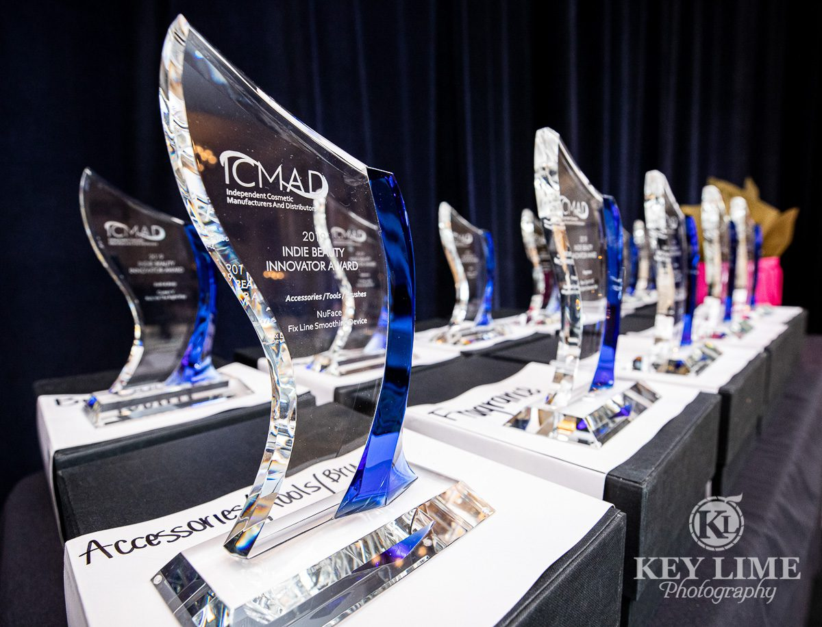 Award ceremony event trophys. Clear glass with blue accents