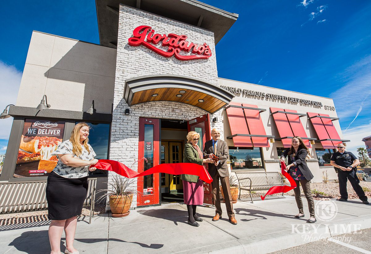 Ribbon cutting event. Grand opening for Giordano's Pizzain Las Vegas