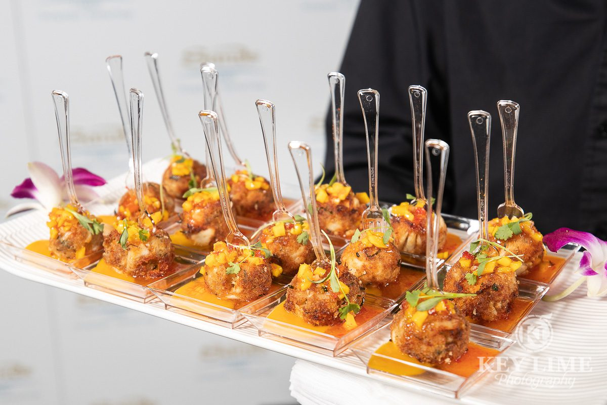 Food photography, Hors d'oeuvres on a serving tray. Event photographer sample image.