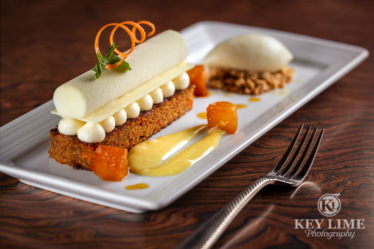 Carrot cake and cheesecake dessert. Food photographer in Las Vegas
