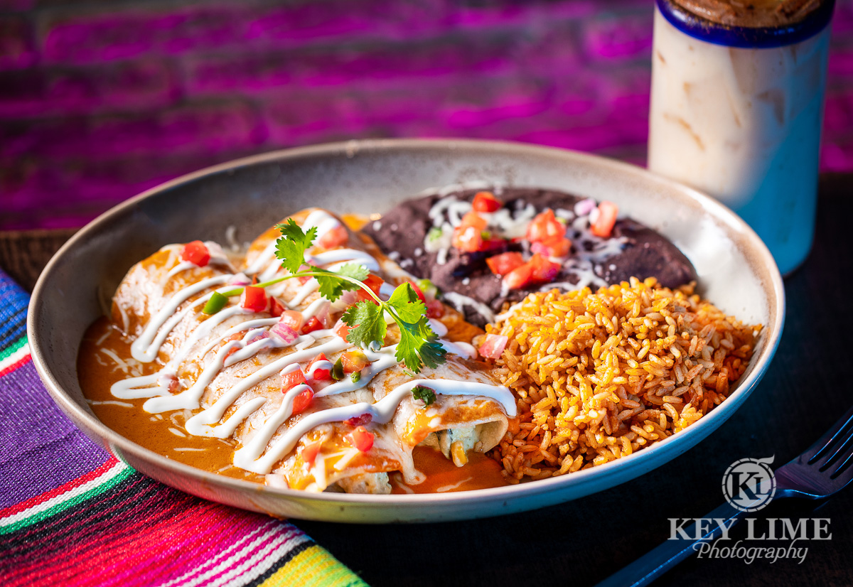 Perfect enchilada plate from Chayo Mexican Kitchen. Captured by a food photographer in Las Vegas, Key Lime Photography.