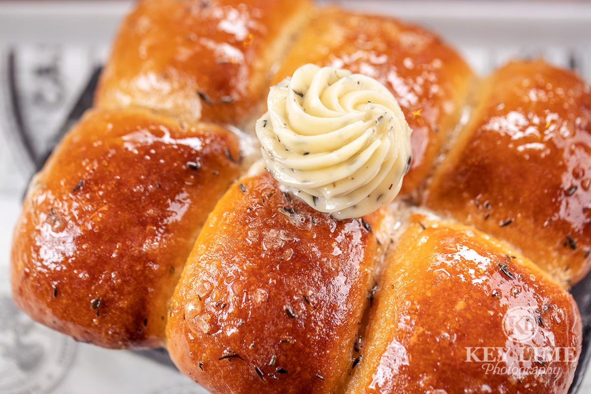Sweet seasoned butter bread captured by a food photographer in Las Vegas.