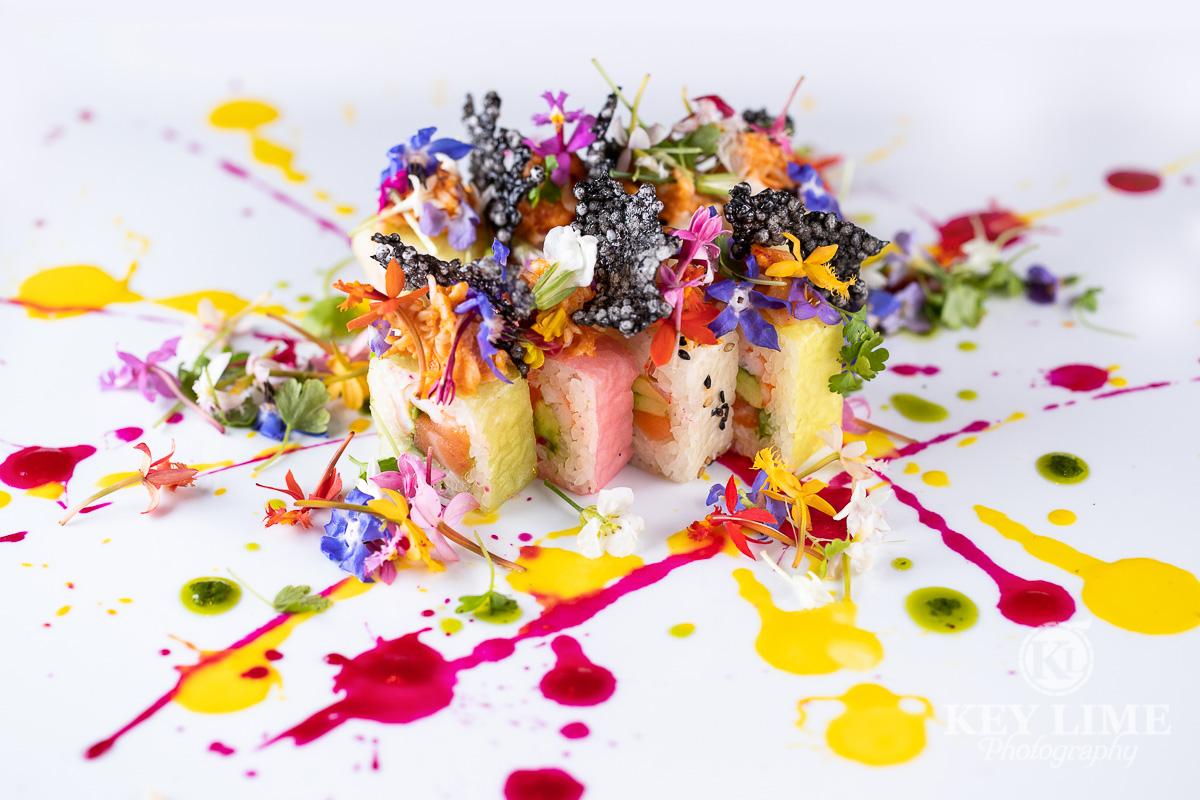 Artistic sushi plate. Prepared like a Jackson Pollock painting.