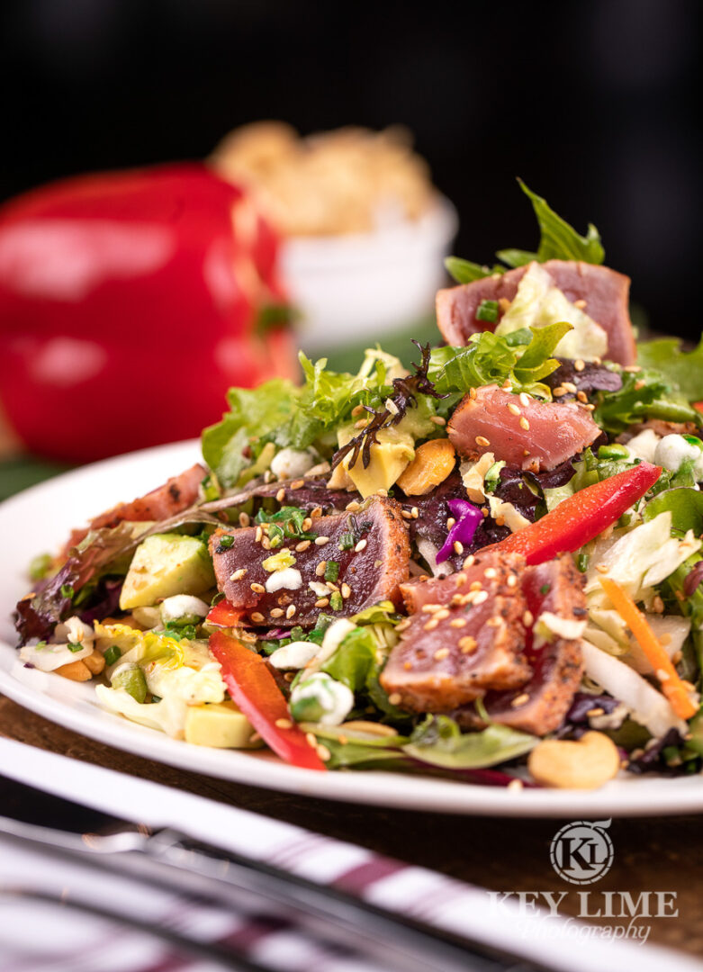 Salad with thick ahi chunks. Food photographer in Las Vegas image.