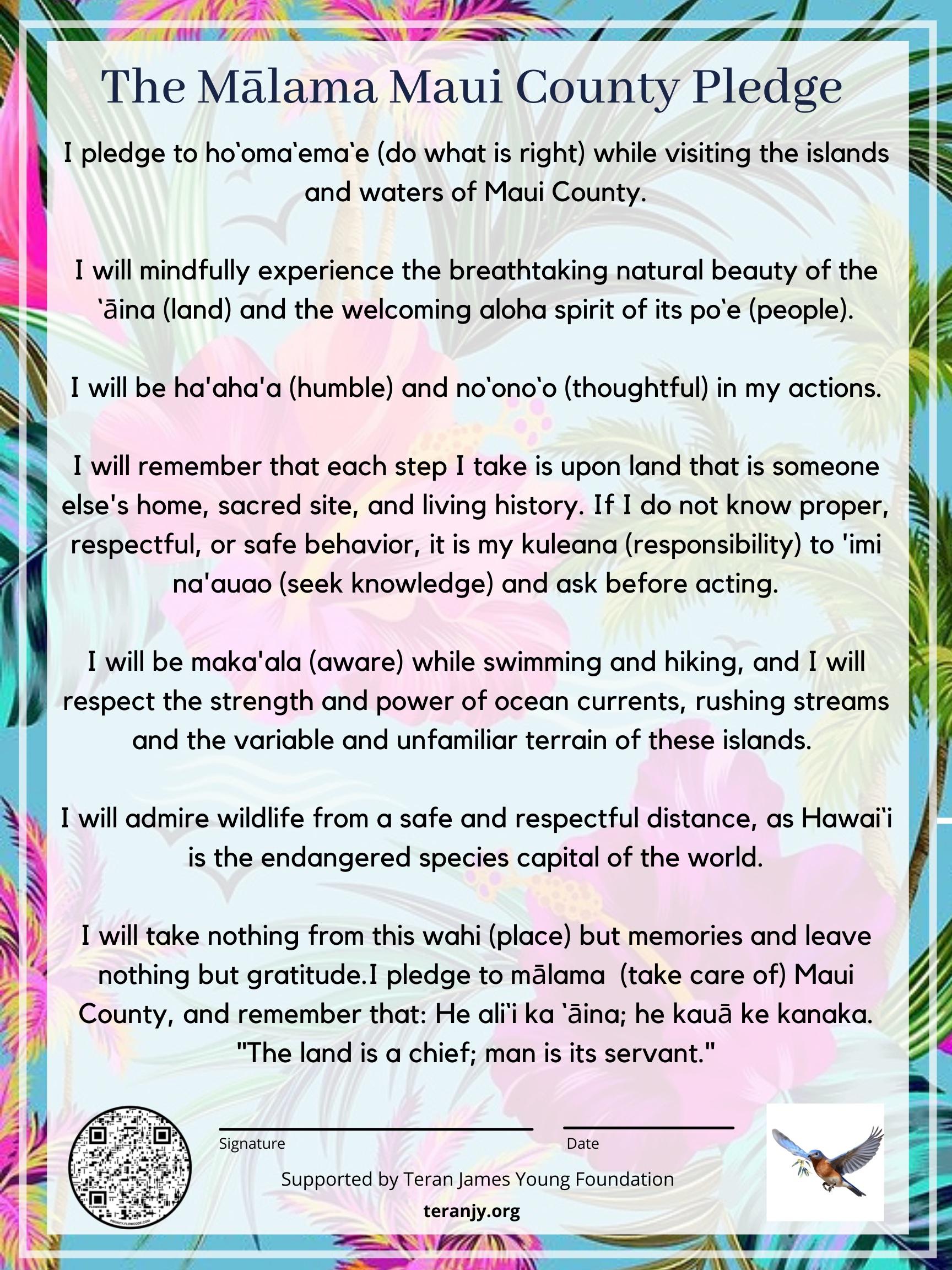 Mālama Maui County Pledge