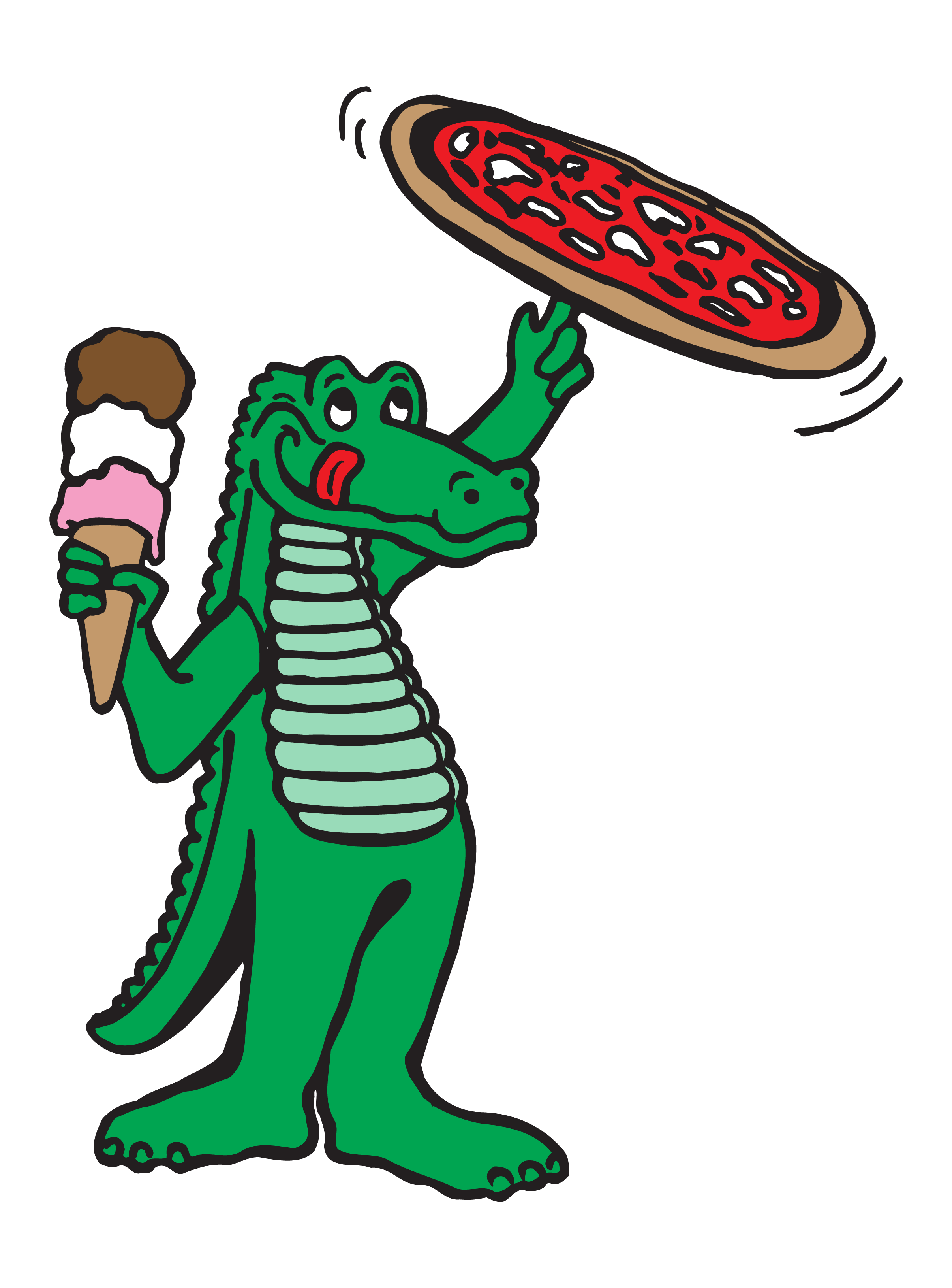 Prep's Pizza Gator with pizza and ice cream