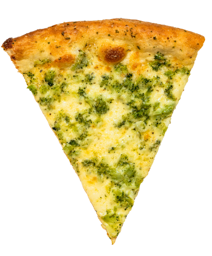 White pizza slice with broccoli and cheese