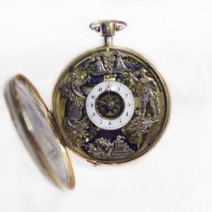 Reloj erótico de bolsillo de repetición de autómatas