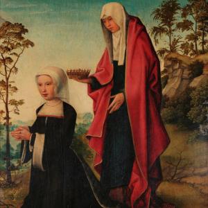 Donante acompañada por Santa Isabel de Hungría