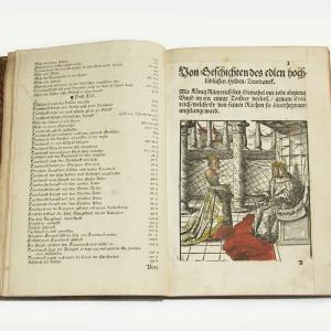 Die Ehr und mañliche Thaten, Geschichten unnd Gefehrlichaitenn des Streitbaren Ritters, unnd Edlen Helden Tewerdanck (Las aventuras y parte de las historias del loable, valiente y más famoso héroe y caballero señor Tewerdanck)