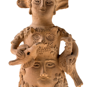 Mujer con guajolote y paloma