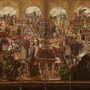 Biombo de La Conquista de México y Vista de la Ciudad de México