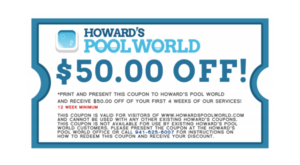 Howard's Pool World $50 coupon off services