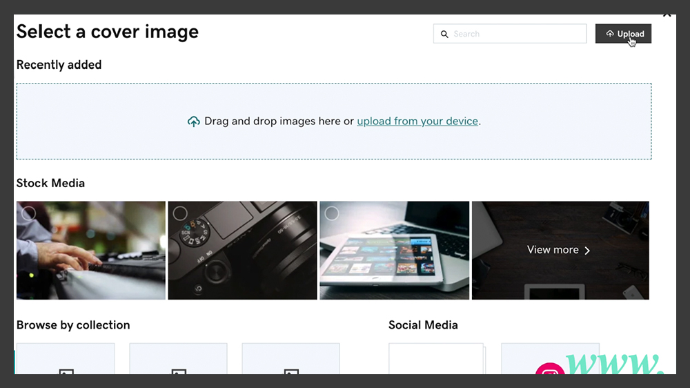 Upload a new image to website builder