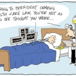 Blog cartoon high cost of Obama care