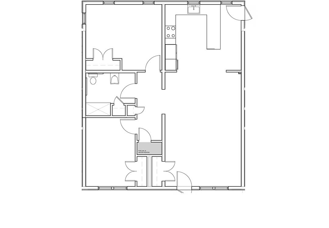 Kitchen, living room, two entries, and a coat closet on the right. Bedrooms, addtional hallway closet, and full bath with closet on the left.