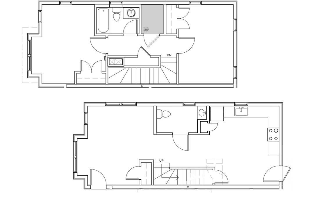 First level kitchen, livingroom, 1/2 bath, two entries, coat and pantry closets. Secvond level bedrooms, additional hallway closet, and full bath.