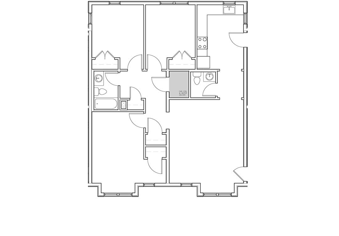 Kitchen, living, 1/2 bath, and two entries on right. Three bedrooms, full bath, and coat and linen closets on left.