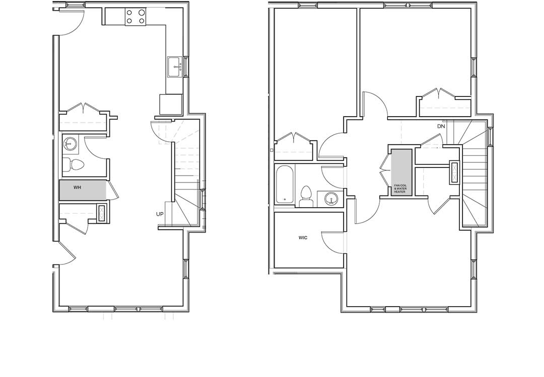 First level kitchen, living, 1/2 bath, two entries and two closets. Second level bedrooms, full bath, linen closet, and master has an additional walk-in closet.
