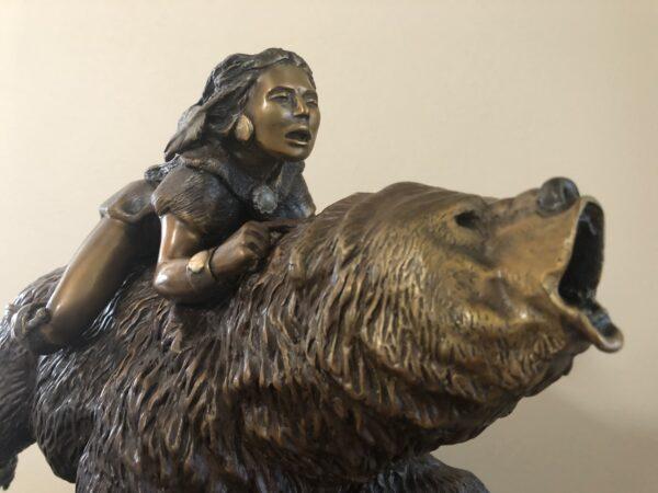 """Bronze Sculpture for Sale Flight of the Spirit Bear 13""""H X 15""""W"""