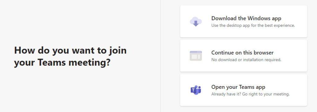 Join Microsoft Teams Meetings Options