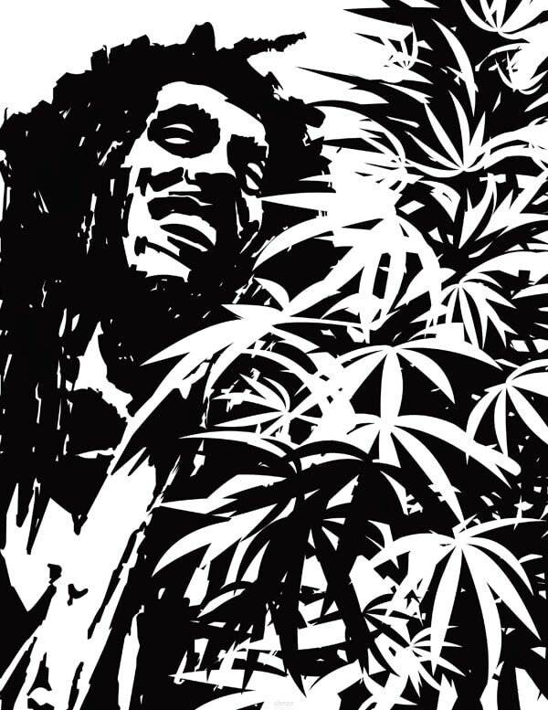 Black and white vector digital graphic of Bob Marley
