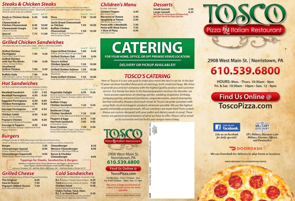 Tosco Pizza Takeout and Delivery Menu 1