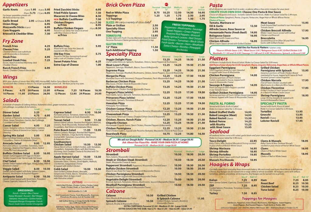Tosco Pizza Takeout and Delivery Menu 2