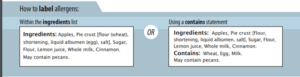 """How to label allergens within the ingredients list or using a """"contains"""" statement"""