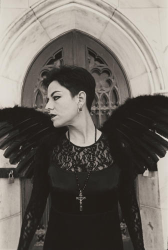 Dark Angel at the Crypt #1, black and white, silver gelatin print