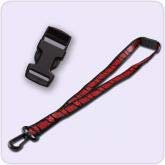 black and red lanyard